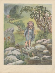 Little Girl with Bonnet and Frog